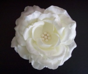 White Silk Flower Hair Clip: XOXO Design's Shop