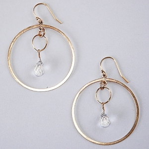 Crystal Ship Earrings in Gold: Hurricane by Jane