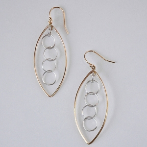 Floating Leaf Earrings Silver and Gold: Hurricane by Jane Jewelry