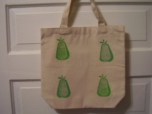 Green Pear Block Print Canvas Tote: Lilly of the Valley