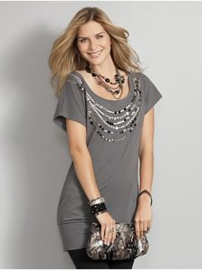 Embellished Necklace Statement Tunic, $29.95