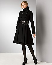 Mackage Funnel Neck Coat with Corset Belt, $690: Bloomingdale's