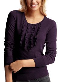 Ruffle-Front Henley Sweater, $44.50: Gap