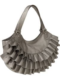 Ruffled Faux Leather Hobo Bag, $29.50: Old Navy